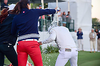 Other LPGA golfers and friends of Haru Nomura (JPN) douse her in drinks after winning the Volunteers of America Texas Shootout Presented by JTBC, at the Las Colinas Country Club in Irving, Texas, USA. 4/30/2017.<br /> Picture: Golffile | Ken Murray<br /> <br /> <br /> All photo usage must carry mandatory copyright credit (&copy; Golffile | Ken Murray)