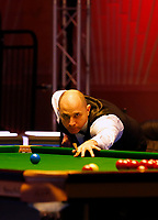25th February 2020; Waterfront, Southport, Merseyside, England; World Snooker Championship, Coral Players Championship; Joe Perry (ENG) at the table during his first round match against Neil Robertson (AUS)