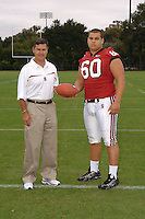 7 August 2006: Stanford Cardinal head coach Walt Harris and Alex Fletcher during Stanford Football's Team Photo Day at Stanford Football's Practice Field in Stanford, CA.