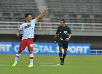 PEREIRA - COLOMBIA - 30-11-2014: German Cano, jugador de Deportivo Independiente Medellin, celebra el gol anotado a Aguilas Pereira, durante partido Aguilas Pereira y Deportivo Independiente Medellin Medellin por la fecha 4 de los cuadrangulares semifinales de La Liga Postobon II 2014, jugado en el estadio Hernan Ramirez Villegas de la ciudad de Pereira.  / German Cano, player of Deportivo Independiente Medellin, celebrates a scored goal to Aguilas Pereira, during a match between Aguilas Pereira and Deportivo Independiente Medellin, for the fourth date of the quadrangular semifinals for La Liga Postobon II 2014, in the Hernan Ramirez Villegas stadium in Pereira City. Photo: VizzorImage.