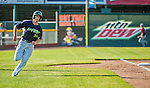 29 June 2014:  Vermont Lake Monsters outfielder Scott Masik rounds third to score against the Lowell Spinners at Centennial Field in Burlington, Vermont. The Lake Monsters fell to the Spinners 7-5 in NY Penn League action. Mandatory Credit: Ed Wolfstein Photo *** RAW Image File Available ****