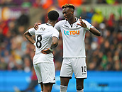 10th September 2017, Liberty Stadium, Swansea, Wales; EPL Premier League football, Swansea versus Newcastle United; Tammy Abraham (R) of Swansea City speaks with Leroy Fer of Swansea City during the match