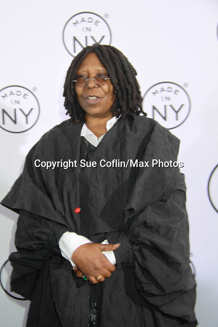 "Whoopi Goldberg is honored as Mayor Bloomberg and Media & Entertainment Commissioner Katherine Oliver present the 7th Annual ""Made in NY"" Awards on June 4, 2012 at Gracie Mansion, New York City, New York. (Photo by Sue Coflin/Max Photos"
