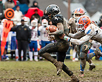 ANSONIA, CT. 02 December 2018-120218 - Ansonia running back Shykeem Harmon #3 runs with the ball ahead of hands of Bloomfield's Myles Davis #10 during the Class S Semi-final game between Bloomfield and Ansonia at Ansonia High School in Ansonia on Sunday. Shykeem would end up fumbling the ball on the run which was recovered by Bloomfield on the five yard line. Bloomfield held on to beat Ansonia 26-19 and advances to the Class S Championship game next week. Bill Shettle Republican-American