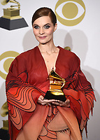 "LOS ANGELES - JANUARY 26: Hildur Guðnadóttir with the award for Score soundtrack for a visual media for ""Chernobyl"" at the 62nd Annual Grammy Awards at Staples Center on January 26, 2020 in Los Angeles, California. (Photo by Frank Micelotta/PictureGroup)"