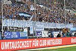 Die Hoffenheimer Fans mit einem Plakat zum aus des HSV in der Bundesliga beim Spiel in der Fussball Bundesliga, TSG 1899 Hoffenheim - Hamburger SV.<br /> <br /> Foto &copy; PIX-Sportfotos *** Foto ist honorarpflichtig! *** Auf Anfrage in hoeherer Qualitaet/Aufloesung. Belegexemplar erbeten. Veroeffentlichung ausschliesslich fuer journalistisch-publizistische Zwecke. For editorial use only.