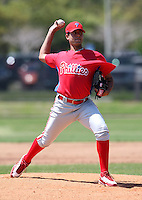 April 1, 2010:  Pitcher Heiter Correa of the Philadelphia Phillies organization during Spring Training at the Carpenter Complex in Clearwater, FL.  Photo By Mike Janes/Four Seam Images