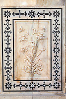 "Jaipur, Rajasthan, India.  Carving in Marble of ""the Magic Flower Fresco.""  Amber (or Amer) Palace, near Jaipur."