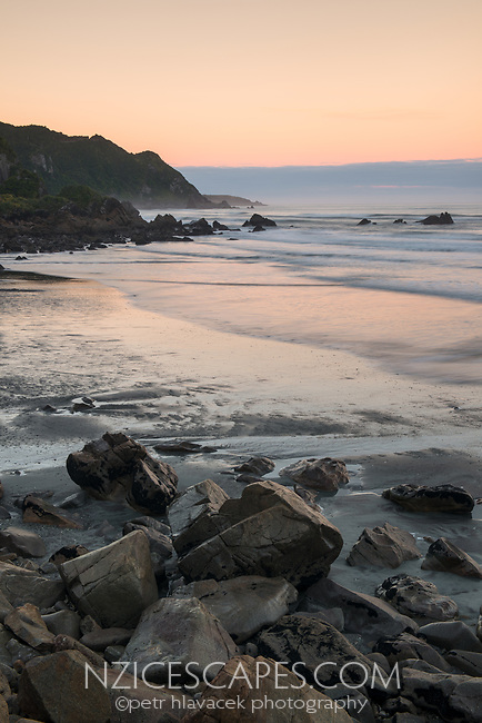 Rugged coastline near Punakaiki at dawn, Paparoa National Park, West Coast, New Zealand