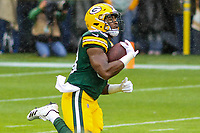 Green Bay Packers running back Aaron Jones (33) during a National Football League game against the New Orleans Saints on October 22, 2017 at Lambeau Field in Green Bay, Wisconsin.  New Orleans defeated Green Bay 26-17. (Brad Krause/Krause Sports Photography)