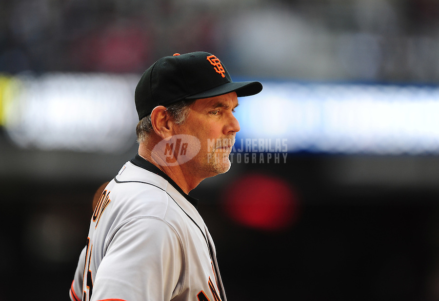 Apr. 6, 2012; Phoenix, AZ, USA; San Francisco Giants manager Bruce Bochy prior to the game against the Arizona Diamondbacks during opening day at Chase Field. The Diamondbacks defeated the Giants 5-4. Mandatory Credit: Mark J. Rebilas-