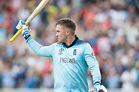 Jason Roy (England) acknowledges the crowds appreciation of his innings during Australia vs England, ICC World Cup Semi-Final Cricket at Edgbaston Stadium on 11th July 2019