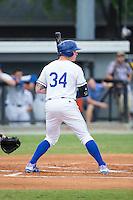 Chris DeVito (34) of the Burlington Royals at bat against the Bluefield Blue Jays at Burlington Athletic Stadium on June 27, 2016 in Burlington, North Carolina.  The Royals defeated the Blue Jays 9-4.  (Brian Westerholt/Four Seam Images)