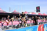 Team Dimension Data at sign on before Stage 1 of the 100th edition of the Giro d'Italia 2017, running 206km from Alghero to Olbia, Sardinia, Italy. 4th May 2017.<br /> Picture: Ann Clarke | Cyclefile<br /> <br /> <br /> All photos usage must carry mandatory copyright credit (&copy; Cyclefile | Ann Clarke)