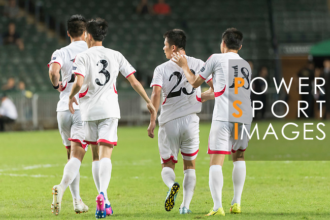 Kim Yu Song of Korea DPR (R2) celebrates his goal with teammates during the 2019 Asian Cup Qualifier match between Hong Kong and Korea DPR on June 13, 2017 in Hong Kong, China. Photo by Chris Wong / Power Sport Images.