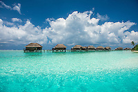 Maldives, Rangali Island. Conrad Hilton Resort. Views of the water villas on the island.