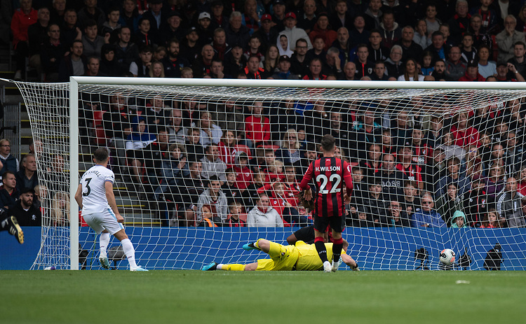 West Ham United's Aaron Cresswell (left) scores his side's second goal <br /> <br /> Photographer David Horton/CameraSport<br /> <br /> The Premier League - Bournemouth v West Ham United - Saturday 28th September 2019 - Vitality Stadium - Bournemouth<br /> <br /> World Copyright © 2019 CameraSport. All rights reserved. 43 Linden Ave. Countesthorpe. Leicester. England. LE8 5PG - Tel: +44 (0) 116 277 4147 - admin@camerasport.com - www.camerasport.com