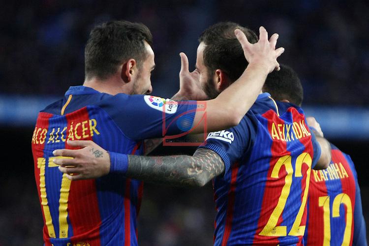 League Santander 2016/2017. Game: 18.<br /> FC Barcelona vs UD Las Palmas: 5-0.<br /> Paco Alcacer &amp; Aleix Vidal.