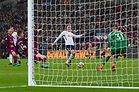 Tottenham Hotspur's Christian Eriksen scores his side's first goal <br /> <br /> Photographer Craig Mercer/CameraSport<br /> <br /> The Premier League - Tottenham Hotspur v Manchester City - Saturday 14th April 2018 - Wembley Stadium - London<br /> <br /> World Copyright &copy; 2018 CameraSport. All rights reserved. 43 Linden Ave. Countesthorpe. Leicester. England. LE8 5PG - Tel: +44 (0) 116 277 4147 - admin@camerasport.com - www.camerasport.com