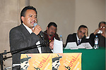 Martin Esparza, secretary-general of the electric Workers Union (SME), gives a speech as he presents a trial against the Calderon's goverment before the jury of the International Tribunal for Union Freedom at the Ex-Templo de Corpus Christi in Mexico City, October 26, 2009. Workers unions are accusing the Calderon's government by violating the constitutional labor laws in favor of the transnational enterprises. Photo by Heriberto Rodriguez