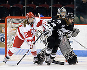 Jonnie Bloemers (BU - 11), Genevieve LaCasse (Providence - 27), Jennifer Friedman (Providence - 10) - The Boston University Terriers defeated the Providence College Friars 5-3 on Saturday, November 14, 2009, at Agganis Arena in Boston, Massachusetts.