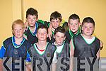 Brian O'Riordan, Leo O'Sullivan, Michael Leane, Connor O'Regan, Aaron James, Kieran O'Regan, Kieran O'Halloran Ballyhiegue  pictured at an indoor soccer blitz at Kerryhead family resource centre on Thursday.