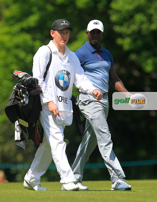 Dwight Yorke (AM) on the 18th fairway during the Pro-Am of The BMW PGA Championship  at Wentworth Golf Club on Wednesday 24rd May 2017.<br /> Photo: Golffile / Thos Caffrey.<br /> <br /> All photo usage must carry mandatory copyright credit     (&copy; Golffile | Thos Caffrey)