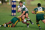 Junior Leota is taken low by S. Lutumailqi. Counties Manukau Premier Club Rugby, Pukekohe v Manurewa  played at the Colin Lawrie field, on the 17th of April 2006. Manurewa won 20 - 18.
