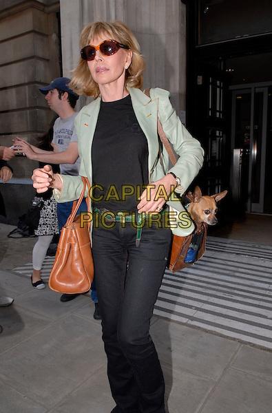 BRIT EKLAND.Arriving at Radio 2,.London, England, 15th October 2007..half 3/4 length green jacket black trousers brown bag sunglasses.CAP/IA.©Ian Allis/Capital Pictures