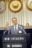 Washington, DC - July 6, 2009 -- Former United States Secretary of Defense Robert S. McNamara, Architect of Vietnam War, died in his sleep at his home in Washington in the early morning of Monday, July 6, 2009. McNamara, who served as Secretary of Defense under Presidents Kennedy and Johnson, was 93.  This file photo from September, 1978 pictures McNamara addressing the International Monetary Fund (IMF) in Washington, D.C..Credit: Arnie Sachs / CNP
