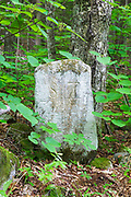 Thornton/Sandwich town line monument along Sandwich Notch Road in New Hampshire USA during the summer months. This historic route was established in 1801