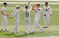 Matthew Milnes of Kent (second right) celebrates taking the wicket of Sir Alastair Cook during Essex CCC vs Kent CCC, Bob Willis Trophy Cricket at The Cloudfm County Ground on 2nd August 2020
