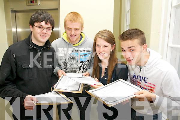 Pictured at the Gaelcholáiste Chiarraí, Tralee collecting their results on Wednesday morning, from left: Domhnall Ó Mathúna, Darren O'Suilleabháin, Sadhbh Ní Chaochlaoich and Teddy D'altuin..