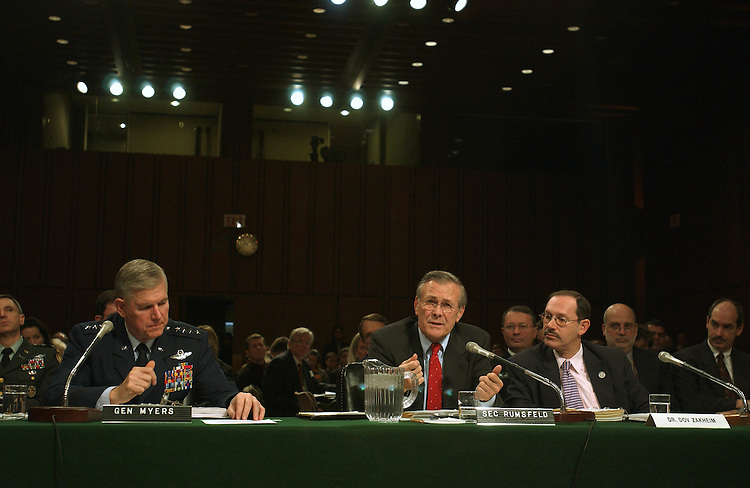 2/5/02.FISCAL 2003 BUDGET/NATIONAL DEFENSE--Joint Chiefs of Staff Chairman Richard B. Myers, Secretary of Defense Donald H. Rumsfeld, and Dr. Dov Zakheim, Defense Department comptroller, during the Senate Armed Services hearing on the Bush administration's  fiscal 2003 budget request for national defense..CONGRESSIONAL QUARTERLY PHOTO BY SCOTT J. FERRELL