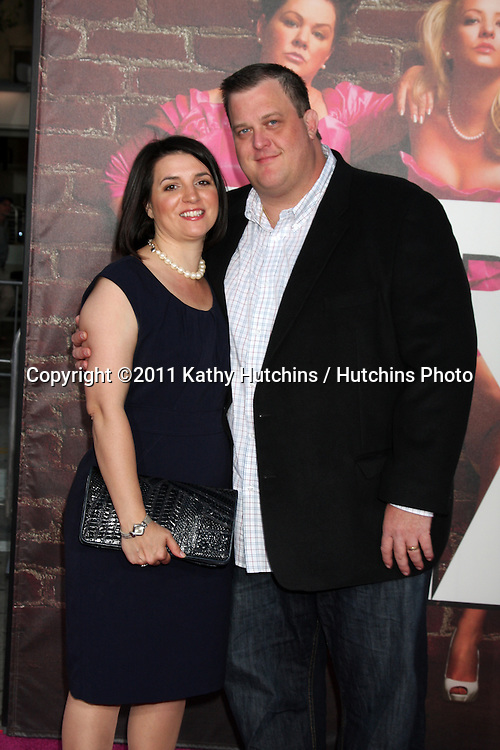 "LOS ANGELES - APR 27:  Billy Gardell & Wife arriving at the ""Bridesmaids"" Premiere at Village Theater on April 27, 2011 in Westwood, CA.."