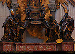 Cathedra Petri detail Chair of St Peter Gilded Bronze Doctors of the Church St Ambrose St John Chrysostom St Athanasius St Augustine GianLorenzo Bernini 1666 Apse St Peter's Basilica Rome