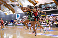 Pulse' Aliyah Dunn and Tactix' Jane Watson in action during the ANZ Premiership - Pulse v Tactix at Fly Palmy Arena, Palmerston North, New Zealand on Sunday 10 March 2019. <br /> Photo by Masanori Udagawa. <br /> www.photowellington.photoshelter.com