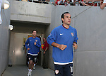 U.S. captain Landon Donovan (r) leads teammate Steve Ralston onto the field for pregame warmups on Tuesday, April 11th, 2006 at SAS Stadium in Cary, North Carolina. The United States Men's National Team tied Jamaica 1-1 in a men's international friendly.