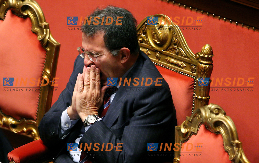 Roma 05-10-2006 Senato;Il Presidente del Consiglio Romano Prodi riferisce al Senato sul caso Telecom<br /> Nella foto Romano Prodi<br /> Photo Serena Cremaschi Inside
