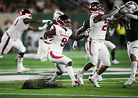 NWA Democrat-Gazette/CHARLIE KAIJO Arkansas Razorbacks wide receiver De'Vion Warren (9) runs the ball during the third quarter of a football game, Saturday, September 8, 2018 at Colorado State University in Fort Collins, Colo.