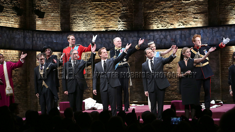 Nyasha Hatendi, Tom Robertson, Margot Leicester, Oliver Chris, Miles Richardson, Adam James, Tim Pigott-Smith, Anthony Calf, Lydia Wilson, Sally Scott and Richard Goulding during the Broadway Opening Night performance curtain call bows for 'King Charles III' at the Music Box Theatre on November 1, 2015 in New York City.