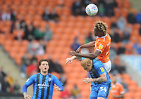 Blackpool's Armand Gnanduillet vies for possession with Gillingham's Connor Ogilvie<br /> <br /> Photographer Kevin Barnes/CameraSport<br /> <br /> The EFL Sky Bet League One - Blackpool v Gillingham - Saturday 4th May 2019 - Bloomfield Road - Blackpool<br /> <br /> World Copyright © 2019 CameraSport. All rights reserved. 43 Linden Ave. Countesthorpe. Leicester. England. LE8 5PG - Tel: +44 (0) 116 277 4147 - admin@camerasport.com - www.camerasport.com