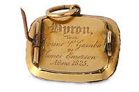 BNPS.co.uk (01202 558833)<br /> Pic: ChiswickAuctions/BNPS<br /> <br /> The inscription on the rear of the locket. <br /> <br /> A lock of the great English Romantic poet Lord Byron's hair has sold for £18,000.<br /> <br /> The sample of the early 19th century wordsmith's light brunette hair has been kept in a gold and enamel locket for almost 200 years.<br /> <br /> George Byron died of fever during the Greek War of Independence fighting against the Ottomans aged 36 in 1824.<br /> <br /> His lock of hair was taken by his Italian companion Count Pietro Gamba who was with Byron on his final days.
