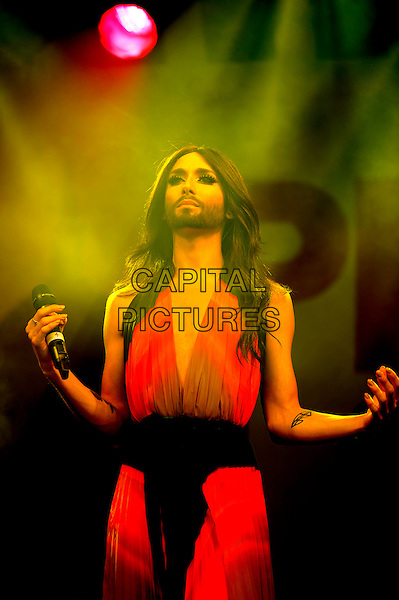 LONDON, UK, JUNE 28: Conchita Wurst perfoms live on stage at Pride London in Trafalgar Square on June 28th 2014 in London, England, UK.<br /> CAP/MAR<br /> &copy; Martin Harris/Capital Pictures