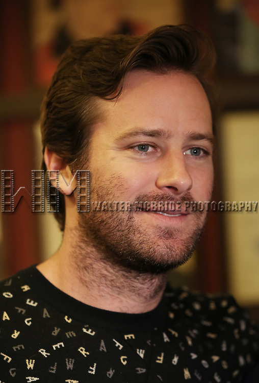 Armie Hammer and Richard Ridge attends photo call for the Second Stage Theatre Company production of 'Straight White Men'  at Sardi's on June 14 30, 2018 in New York City.