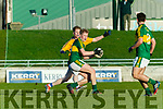 Donnachadh O'Sullivan Kerry in action against Joe Miniter Clare in the Munster Minor Quarter Final at Austin Stack Park Tralee on Wednesday night.