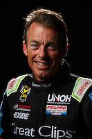Feb 10, 2016; Pomona, CA, USA; NHRA top fuel driver Clay Millican poses for a portrait during media day at Auto Club Raceway at Pomona. Mandatory Credit: Mark J. Rebilas-USA TODAY Sports
