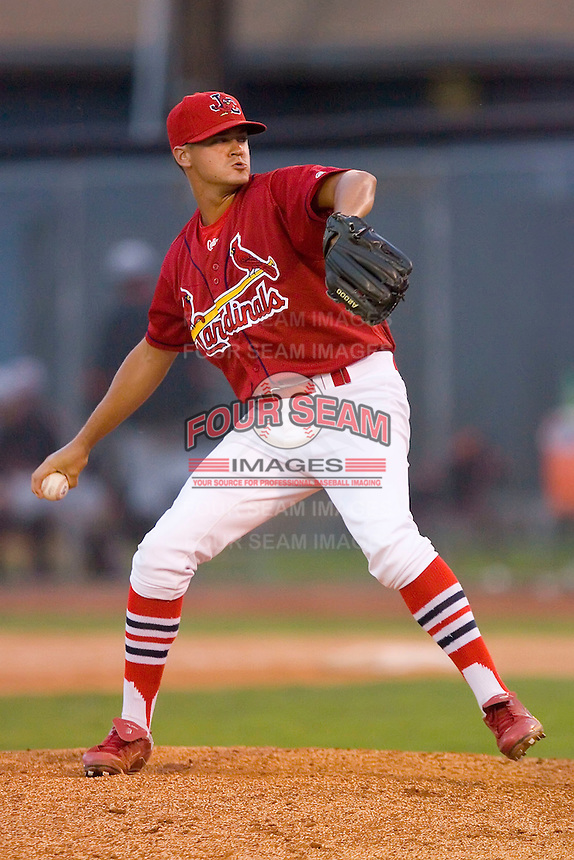 Relief pitcher Travis Lawler #25 of the Johnson City Cardinals in action versus the Bluefield Orioles at Howard Johnson Field August 1, 2009 in Johnson City, Tennessee. (Photo by Brian Westerholt / Four Seam Images)