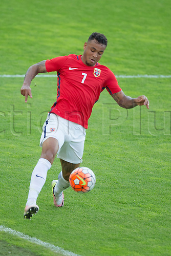 01.06.2016  Ullevaal Stadion, Oslo, Norway.  Joshua King of Norway controls the ball along the wing during the International Football Friendly match between Norway versus Iceland at  Ullevaal Stadion in Oslo, Norway.
