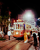 TURKEY, Istanbul, view of tram and people on street at Beyoglu district